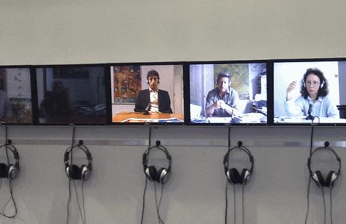 Fernsehmonitore mit Headset