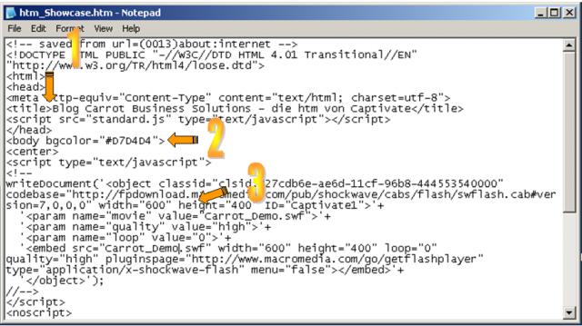 Adobe Captivate html-Datei mit TextEditor geöffnet