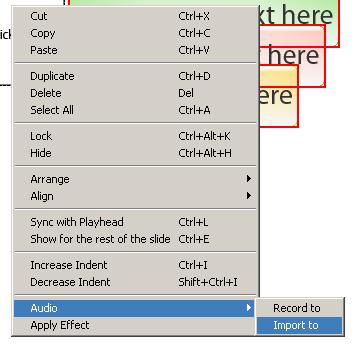 Adobe Captivate - Import Audio einem Objekt zuordnen