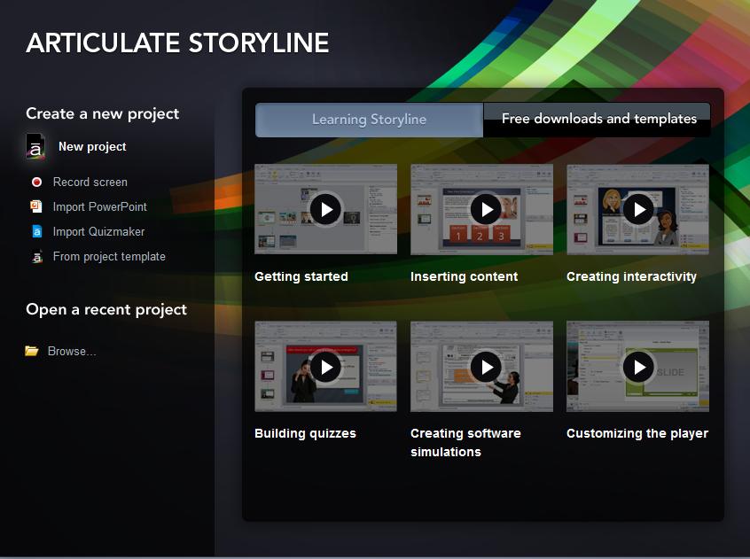 Startscreen von Articulate Storyline