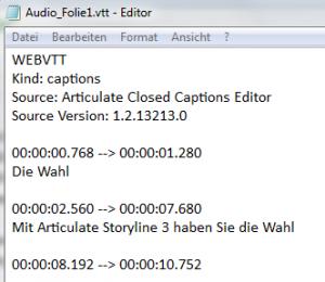 Mit MS Editor Untertitel bearbeiten zum Import in Articulate Storyline 3.