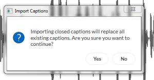 Warnung beim Importieren von Untertitel in Articulate Storyline 3