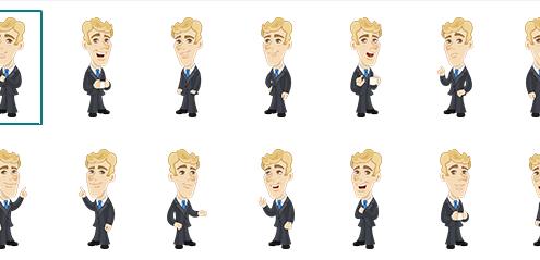 verschiedene Posen von der Zeichentrickfigur Brady im Rapid E-Learning - Tool Adobe Captivate