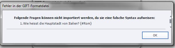 Adobe Captivate - Fehlermeldung beim GIFT-Import