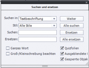 Suchen und Ersetzen - Funktion bei Adobe Captivate