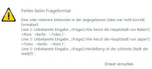 Fehlermeldung in Articulate Storyline bei Import einer GIFT-Datei im txt-Format.