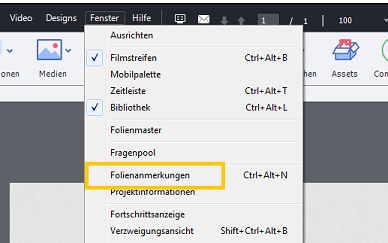"geöffnetes Menü ""Fenster"" in Adobe Captivate 2017"