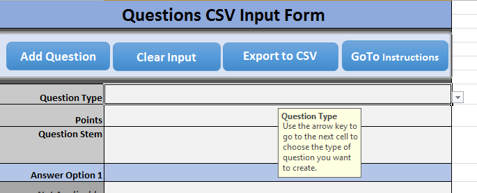 Adobe Captivate 2019 - csv Question Type