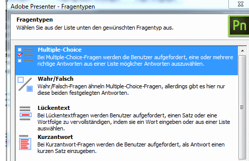 Fragen in Adobe Presenter