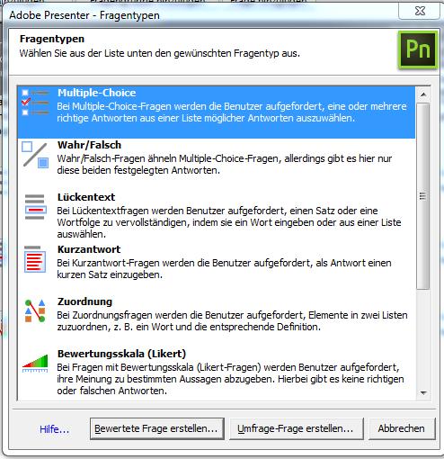 Fragetypen bei Adobe Presenter