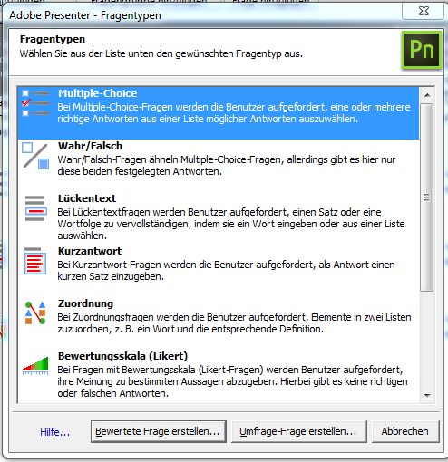 Fragetypen bei Adobe Presenter