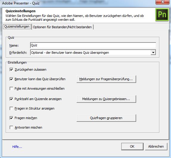 Adobe Presenter - Quizeinstellungen