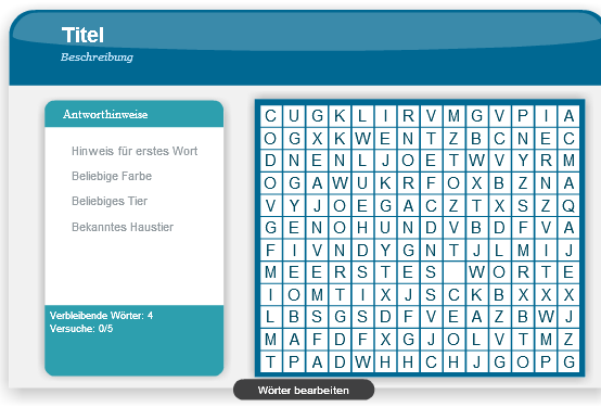 Adobe Presenter - Word Search Interaktion