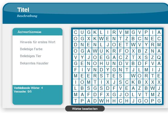 Adobe Presenter - Word Search Interaktion